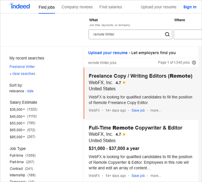 Content writer jobs at Indeed.com