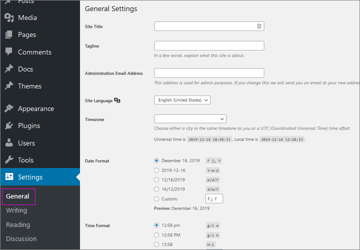 General Settings in WordPress