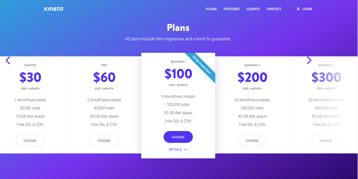Premium WordPress hosting - hosting plans