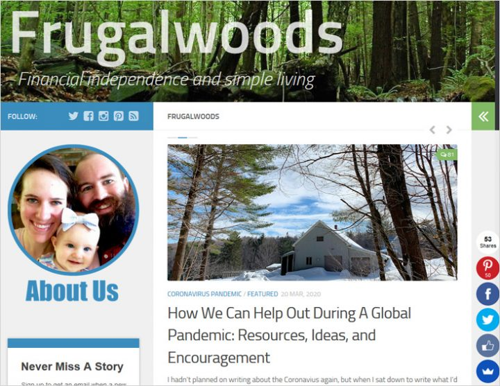 Frugalwoods blog niches Financial site screeen shot