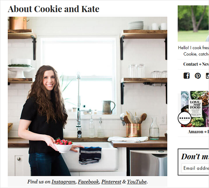 About me page - Cookie and Kate site
