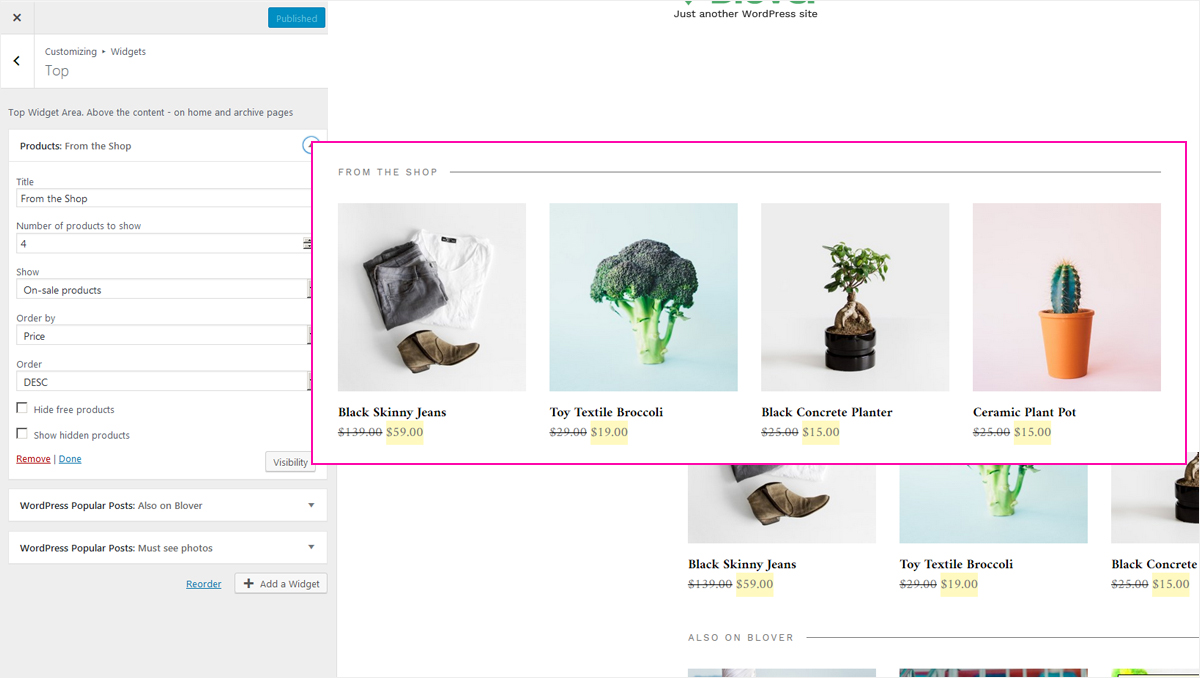 Show your products with Blover ecommerce theme