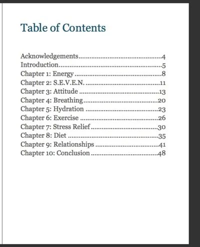 Bo Yoga Ebook Table of Contents