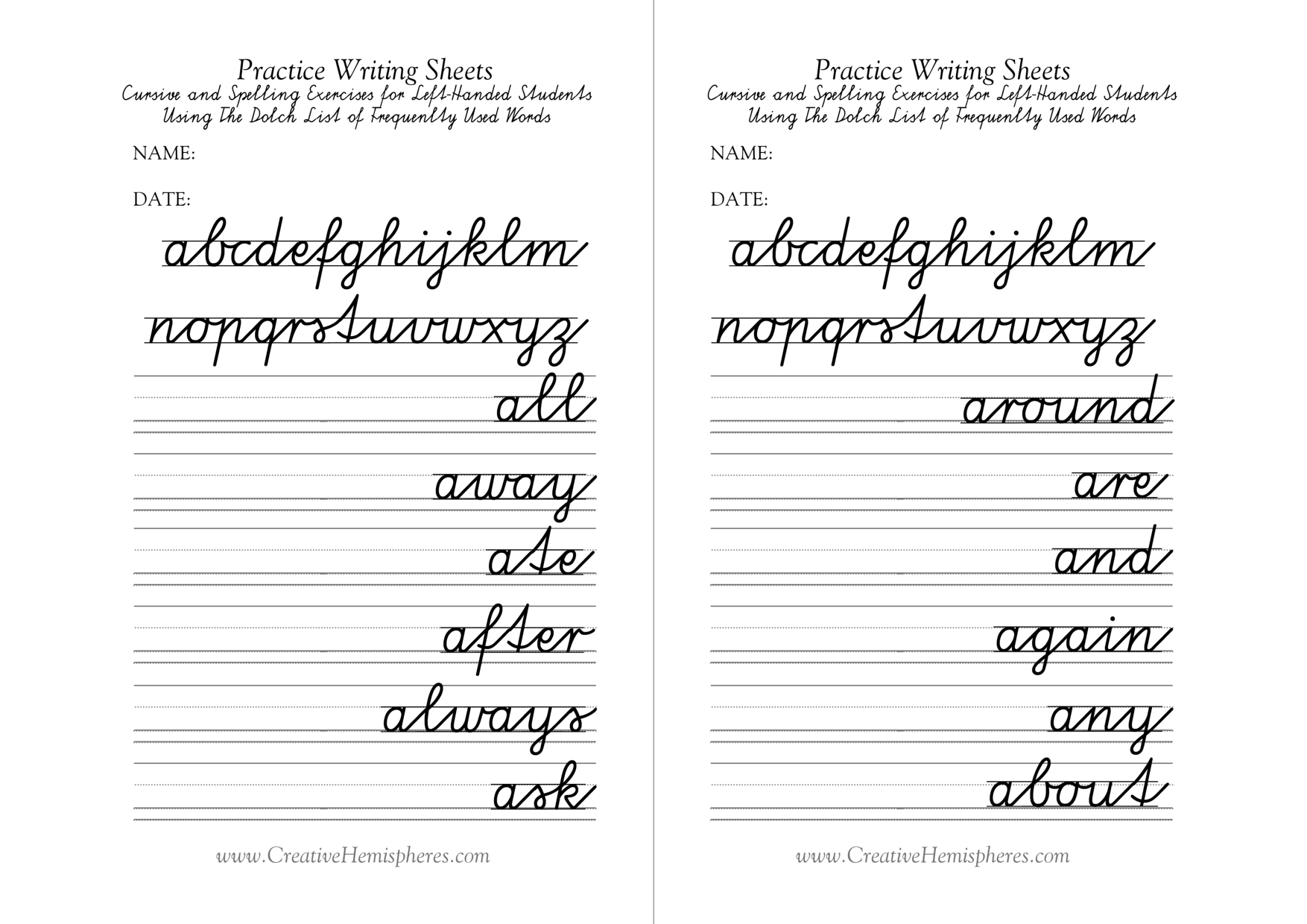 Free Printable Left Handed Worksheets
