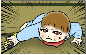 (真剣な顔でプラレールをつかんでいるにぃくんのイラスト。)