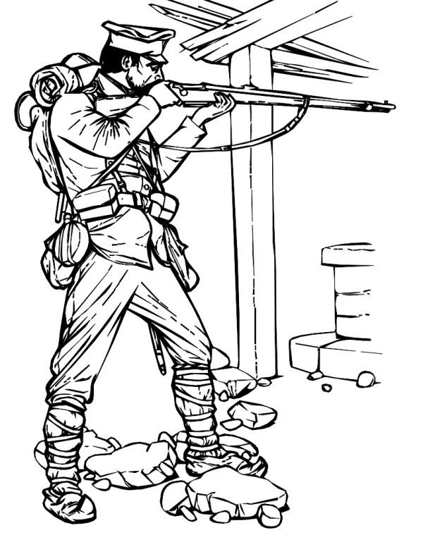 Военный с ружьем военный ружье Раскраски для детей мальчиков