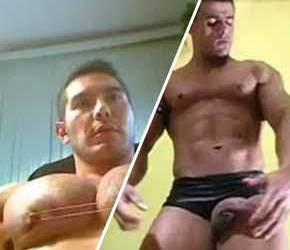 Teta de macho e a pica dura do malhado - Bodybuilder Amador