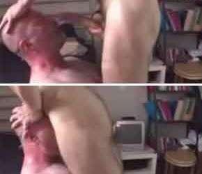 Estuprando a garganta do careca no oral hardcore