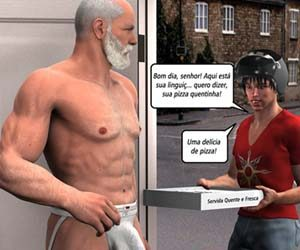 O entregador de pizza - História em quadrinho gay
