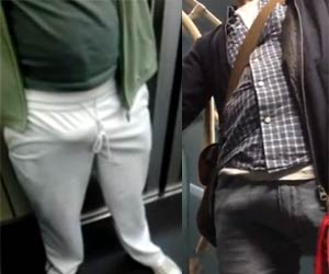 Calça branca marca VOLUME do macho no metrô - Bulges