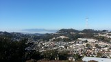 Midtown Terrace. You can see Mt Tam in Marin on the horizon. Fog is the Golden Gate.