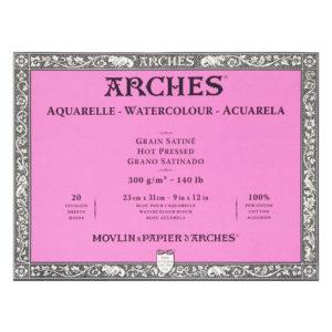 Papier aquarelle Arches 300 GRS . Bloc 20 feuilles . Grain satiné .Format 31×41 cm.
