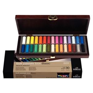 Coffret bois 30 demi pastels tendres Rembrandt