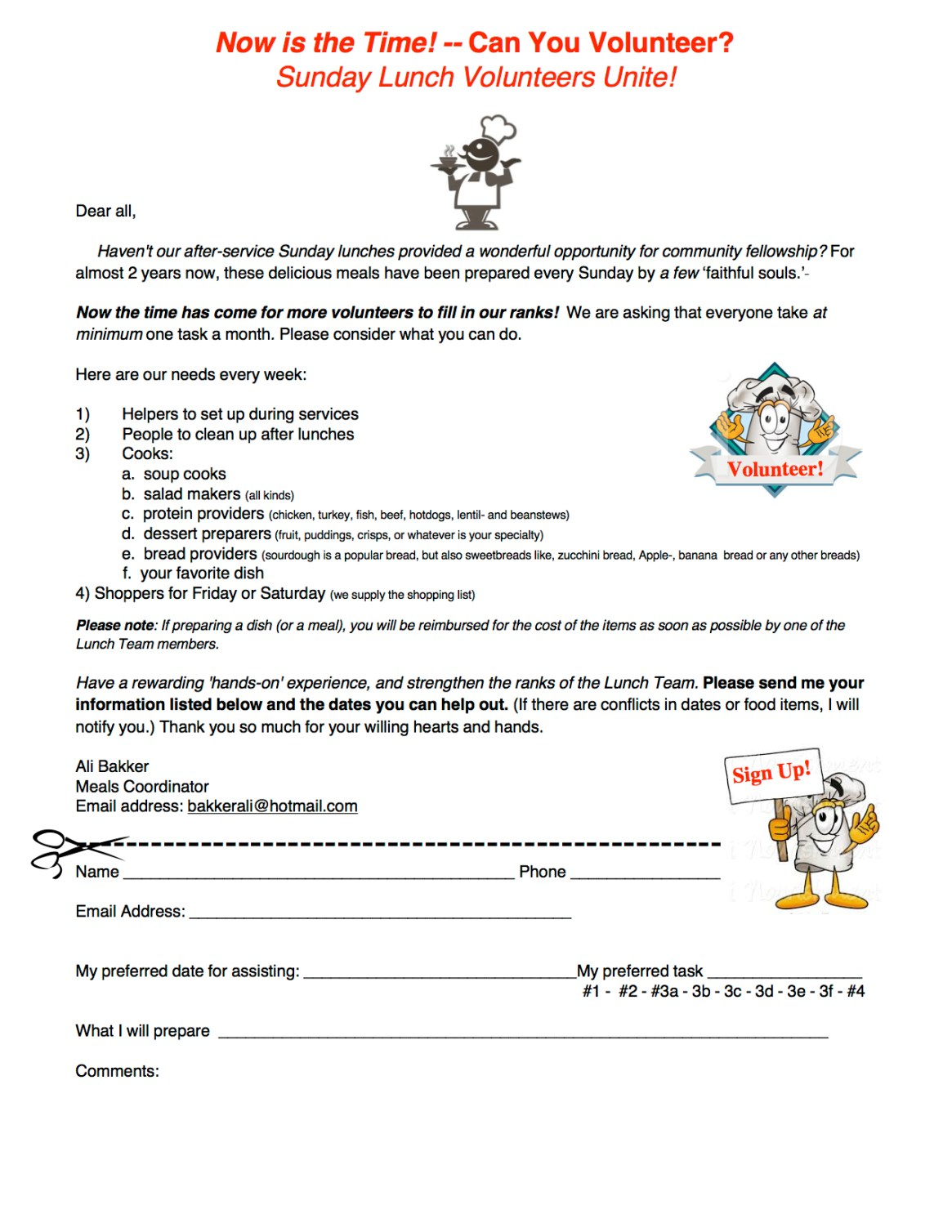 Kitchen Volunteer Form