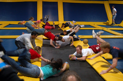Dodgeball on trampolines at Sky High Sports