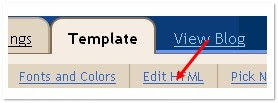 click on the 'edit html' tab