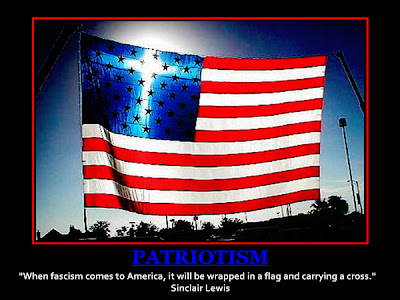 Sun dog on US flag, Sinclair Lewis quote on fascism