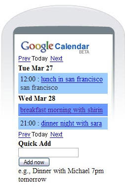 Google launched Google Calender for Mobiles