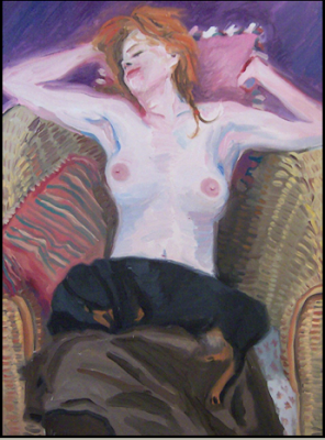 Figure with Dachshund by James Howard Kunstler