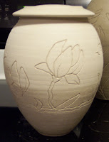 Incised Bay Magnolia Design - raw clay