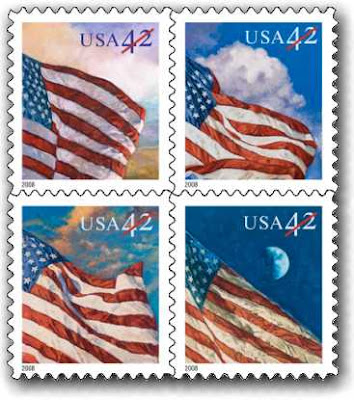 Representations of the general usage, first class postal stamps issued by the U.S. Postal Service in April 2008 -- and, is that a 14th stripe on the flag in the lower right?