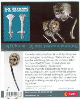 Det udfoldede frimærkehefte 'Nationalmuseet 200 år' -