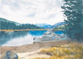 Hume Lake watercolor painting by Angela Fehr