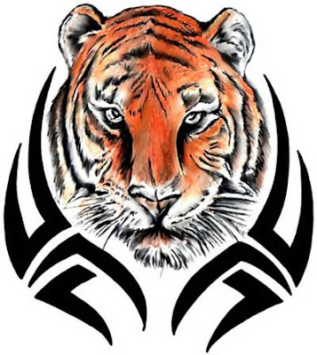 A Tiger Tattoo Design with colored head and black and white backward