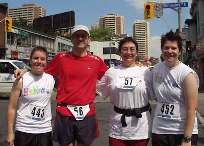four runners after Pride and Remembrance 5k run, Toronto, 2004