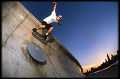 Photograph of a skateboarder with wide angle lens