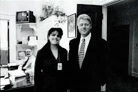 Monica and Bill in a grainy black and white photo taken in a White House office.