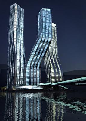 Dancing building design for unique tower