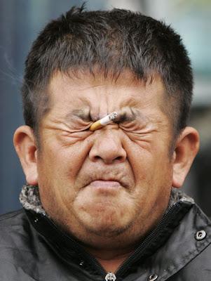 Smoking using one's eyes