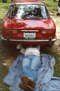 Alfa Romeo GTV during a trackside yoga session at Hallett