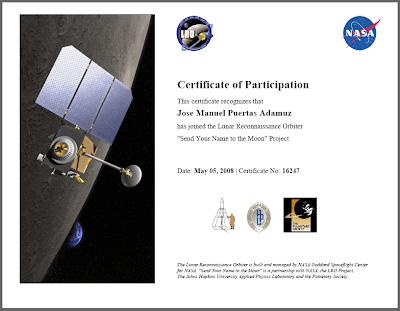 Certificado de participación 'Tu nombre a la Luna'