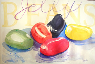 Jelly Beans watercolor painting by Angela Fehr