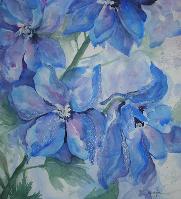 Painting titled Delphinium Immersion by Angela Fehr