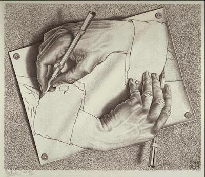 Manos dibujando (litografia, 1948)