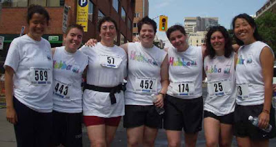 Team Hubba after Pride and Remembrance 5k run, Toronto, 2004