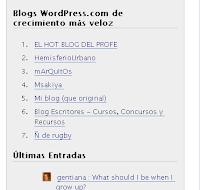 Blog Escritores en el Ranking de WordPress.com el 25 dec 2006 como uno de los que mas crecen