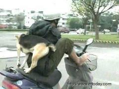 Man rides using his leg