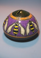 Raku Bank with Art Nouveau Bee Motif, Anne & Lowell Webb