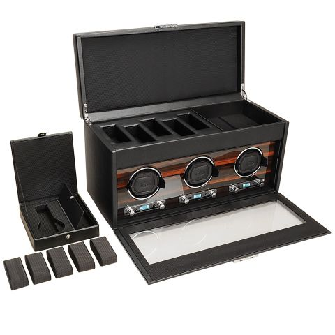 $1,116, amazon.com Wolf is another industry favorite, and this three-watch winder is the perfect choice for a more avid collector. Its upper compartment has loads of bonus storage, and its three winding pods offer variable settings to ensure you aren't under- or overwinding your favorite watches.
