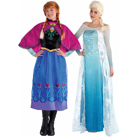 $60 each BUY NOW Excited for Frozen to come to Broadway? We are too. Play sisters for the day with coordinating Elsa and Anna costumes. Each is designed with a cape that'll keep you warm on a cold October night, and you'll obviously want to accessorize with lots of braids.