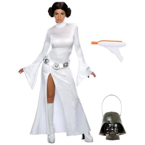 "$62 BUY NOW This is one of the sexier Princess Leia costumes we could have picked, though it's not nearly as bad as the ones from her well-known ""prisoner of Jabba the Hutt"" scene. As an added bonus, this comprehensive costume includes a toy blaster as well as the Darth Vader candy bucket."