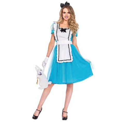 $40 BUY NOW Step through the looking glass this Halloween! Alice costumes are always a hit. This three-piece set includes the signature blue dress, an apron, and bow headband.