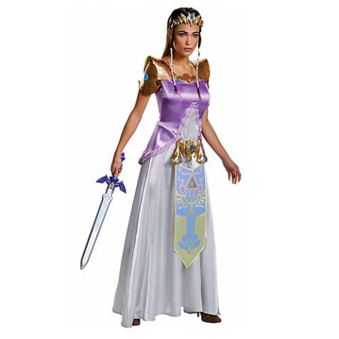 $55 BUY NOW Princess Zelda is here to rule the kingdom. You and Link will save the day this Halloween in this authentic-looking dress with attached shoulder pieces. Shoes and sword not included. Get the sword here!