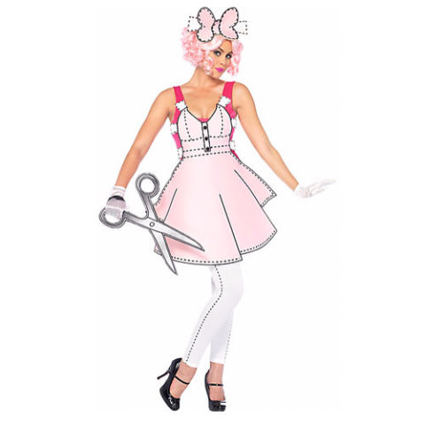 $50 BUY NOW Snip, snip, snip your way through the night as a life-sized paper doll. The body suit comes with the cutout foam dress that attaches to the front, as well as the hand-held giant foam scissors. Wig, shoes, and gloves not included.