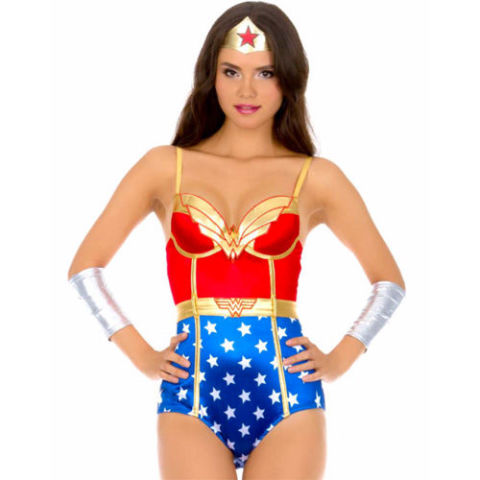 $40 BUY NOW Of course there's a sexy Wonder Woman costume. We'll be seeing many, but we don't judge (we're not Judy). This satin bodysuit has a sweetheart neckline, adjustable straps, gold accents, and padded underwire cups. Get ready to turn some heads this Halloween!