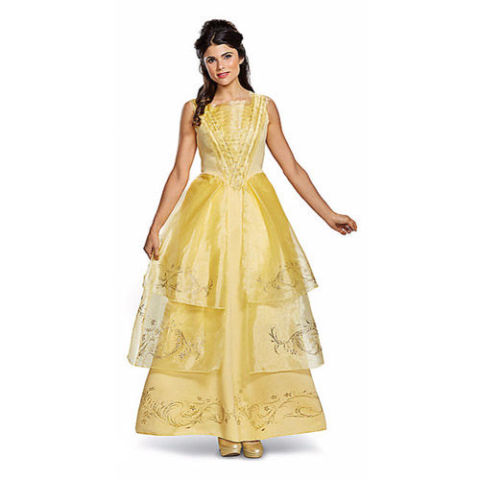 $50 BUY NOW Who doesn't want to dress like Emma Watson? As the star of Disney's live-action Beauty and the Beast, you can now channel her character for the night with this signature yellow Belle costume. More: Go as Elsa or Jasmine With These Disney-Themed Princess Costumes